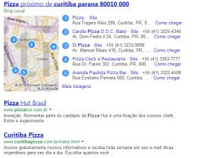 Resultado do Bing também mostra resultados locais